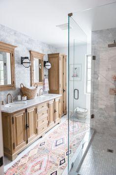 Boho Bathroom Renovation Reveal Modern Boho Bathroom Renovation Reveal with Rugs USA's Berber Moroccan runner!Modern Boho Bathroom Renovation Reveal with Rugs USA's Berber Moroccan runner! Bathroom Trends, Bathroom Renovations, Bathroom Interior, Bathroom Ideas, Bathroom Goals, Bathroom Organization, Bathroom Storage, Bathroom Colors, Bath Ideas