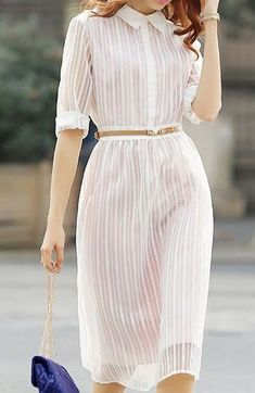 Ladylike Flat Collar Stripe Sleeve Midi Dress For Women Love the sheerness of this dress, complemented with a belt to draw the attention to her waist… Ylime xxx Women's Dresses, Pretty Dresses, Casual Dresses, Summer Dresses, Sleeve Dresses, Midi Dress With Sleeves, Dress Skirt, Dress Up, Shirt Dress