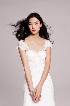 Lela Rose 'The Farm' simple, floral wedding dress