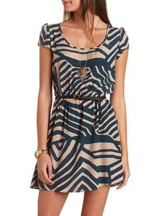 Belted Cap Sleeve Dress: Charlotte Russe