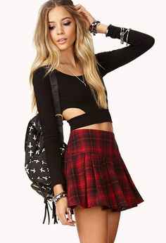 Always wanted a red plaid skirt. Very flirty. Would look good with leggings. Plaid Skirts, Mini Skirts, Gingham Skirt, Skirt Pleated, Skirt Outfits, Cute Outfits, Forever 21, Shop Forever, Fall Fashions