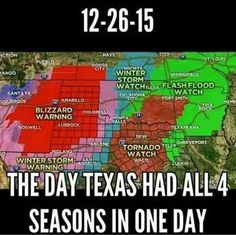 The day Texas had all four seasons in one day. Also the day that a tornado ripped through Garland and Rowlett, Texas. It was a day/night I will never forget. Texas Humor, Texas Funny, Texas Meme, Texas Weather, Only In Texas, Funny Quotes, Funny Memes, Hilarious, Jokes