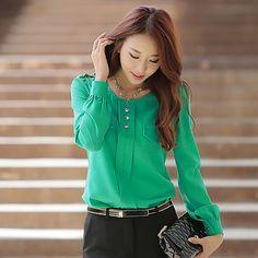Women's Plus Size Solid Color Blouse 2017 - $118248