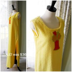 SALE Yellow Terrycloth Cover Up, Swim Suit Cover Up, Long Terry Beach Cover with Ice Cream Float Applique, Womens Teens Vintage 60s Size M/L...