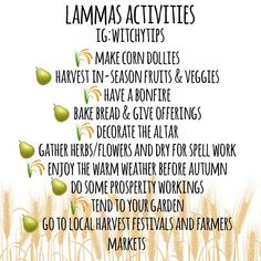 Some activities you can do and enjoy up to and on the day of Lammas, August 1st! Have anymore ideas you enjoy doing? Comment below! 🌾🍐☀️ Green Witchcraft, Wiccan Witch, Magick, Wiccan Magic, Wicca Holidays, Wiccan Sabbats, Corn Dolly, Grimoire Book, Eclectic Witch