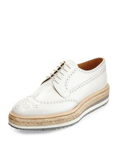 Leather Creeper with Espadrille Sole, White by Prada at Neiman Marcus.