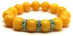 Golden Yellow Jade and Green Crystals Rondelles Stretch Bracelet