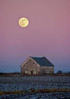 Moon over barn, Fairfield Iowa
