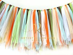 Forest friends garland for woodland animal themed birthday party.  High chair banner for 1st birthday idea.