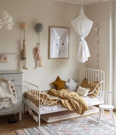 How pretty is this little girl's room by 👈🏻 Featuring Maileg soft bunny and rabbit, available online from our store 💫 . Baby Bedroom, Baby Room Decor, Girls Bedroom, Girl Toddler Bedroom, Ikea Girls Room, Childs Bedroom, Child Room, Nursery Room, Girl Nursery
