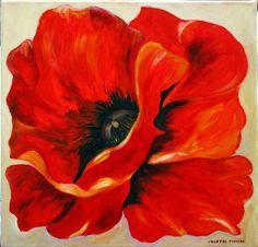 Coquelicot - Painting,  40x40 cm ©2013 par Chantal Thomas Rogé -  Peinture