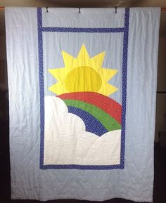 "Vintage Handmade Tied Childs X-Long Twin Quilt 65""x102"" Rainbow Blue Gingham"
