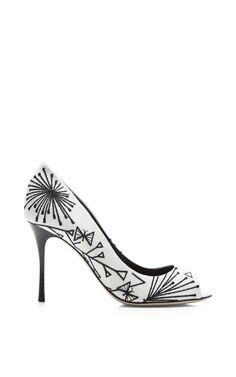 Godiva Embroidered Canvas Pumps by Sergio Rossi Now Available on Moda Operandi