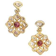 Amrapali Ruby and diamond drop earrings (£1,015) ❤ liked on Polyvore featuring jewelry, earrings, ruby, diamond post earrings, ruby jewelry, diamond earrings, 18 karat gold earrings and 18k diamond earrings