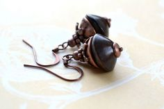 Wood Bead Earrings Brown Earrings Rustic Earrings by Phoebedreams