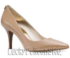 Michael Kors Leather Pumps, Classics Shoes for Women Pointed Toe Pumps, High Heel Pumps, Pumps Heels, Stiletto Heels, Peep Toe, Dark Khaki, Michael Kors Shoes, Beige, Leather Pumps
