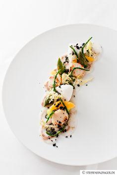 loup de mer | scallop | passe pierre | orange | green asparagus