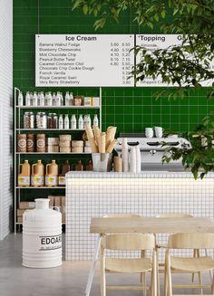 Coffee Shop Interior Design, Coffee Shop Design, Cafe Design, Store Design, Decoration Restaurant, Deco Restaurant, Restaurant Design, Coffee Shop Aesthetic, Gelato Shop