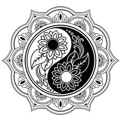 Circular pattern in form of mandala for Henna, Mehndi, tattoo, decoration. Decorative ornament in oriental style with Yin-yang hand drawn symbol. Coloring book page. Yin Yang Tattoos, Tatuajes Yin Yang, Arte Yin Yang, Ying Y Yang, Yin Yang Art, Mandala Art, Mandala Drawing, Mandala Tattoo, Estilo Mehndi