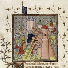"""French destroying Genoa - """"Chroniques de France ou de St Denis"""" - last quarter of XIV cent. [Royal 20 C VII   f. 19]"""