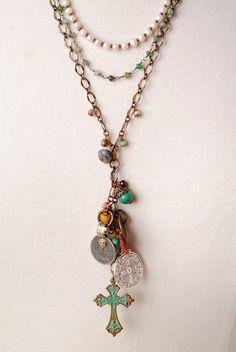 ELP008N Unique handcrafted designer gemstone coins cross cluster pendant multistrand necklace for women