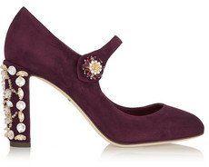 Pin for Later: 50 coole Schuhe für euer Dirndl, die ihr auch nach dem Oktoberfest noch gerne tragen werdet Dolce & Gabbana Mary-Jane-Pumps aus Veloursleder mit Kristallverzierung (775 €)