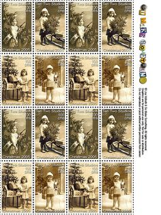 Faux postage stamps are great for decorating envelopes, and are ideally sized for artist trading cards.