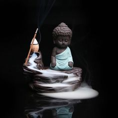 Zen Buddha Ceramic Aromatherapy Backflow Stick Incense Burner Innovative and unique aromatherapy incense burner! Features a Buddha/Monk figurine positioned next Baby Buddha, Little Buddha, Buddha Zen, Buddha Buddhism, Buddha Quote, Buddhist Monk, Burning Incense, Incense Burner, Small Buddha Statue