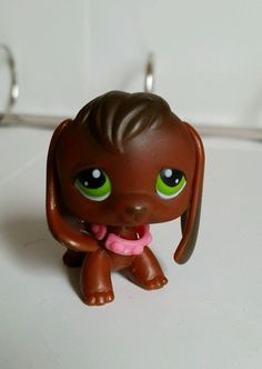 Littlest Pet Shop LPS Chocolate Brown Beagle Puppy Dog #77 with Green Eyes EUC  #Hasbro