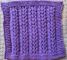 This is an easy lace project for the beginner using a less than one ball of worsted weight cotton. Someone posted the charted stitch pattern on Knitting Paradise, and I liked it and adapted it into a washcloth. I can't provide the original source, since it's not from an English language website, and I only have a jpeg. I provided the stitch repeat, which works best with some sort of border stitches, in case you want to use if for a scarf or afghan.