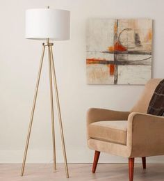 Ellis Tripod Floor Lamp Brass/White (Lamp Only) - Project 62 Furniture Styles, Modern Furniture, Target Furniture, House Furniture, Free Standing Lamps, Brass Floor Lamp, Metal Floor, Brass Lamp, Gold Lamps