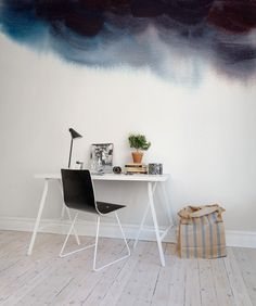 Gradient - wallpaper in dip dye / ombre style. Dark and cloudy watercolor wall with pigments running down the surface. Design by Rebecca Elfast #rebelwalls #wallpaper #wallmurals #designersforum