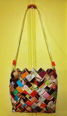 Woven magazine purse