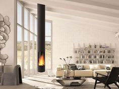 Sleek, modern and minimalist, the Slimfocus suspended fireplace is perfect for smaller spaces and a highly efficient slow-combustion wood heater. Suspended Fireplace, Hanging Fireplace, Wood Fireplace, Fireplace Design, Fireplace Ideas, Mounted Fireplace, Custom Fireplace, Focus Fireplaces, Wood Burner