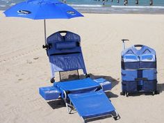 LoungePac Beach Lounger.  It transforms from a stroller luggage form to an unbelievable  beach lounge chair in just 10 seconds. #SummerIsComing GetdatGadget.com/summer-coming-prepare/