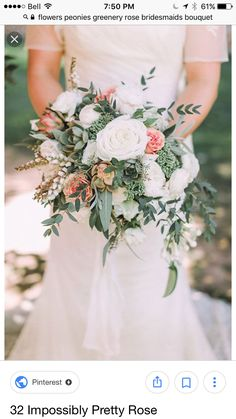 A mixed bouquet with white and pink roses, succulents, and greenery, created by Art with Nature. Like the shape. Don't want the bouquet to be wider than me Rose Wedding Bouquet, White Wedding Bouquets, Bride Bouquets, Bridal Flowers, Floral Wedding, Wedding Colors, Trendy Wedding, Wedding Ideas, Green Wedding