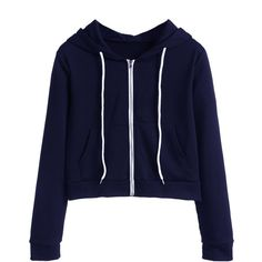 SheIn(sheinside) Navy Zip Up Pocket Hooded Sweatshirt (22 CAD) ❤ liked on Polyvore featuring tops, hoodies, navy, zip up hoodie, hooded sweatshirt, navy blue hooded sweatshirt, zip up hoodies and navy blue hoodies