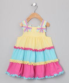 Yellow & Pink Seersucker Dress - Toddler & Girls