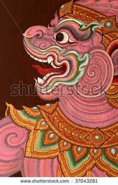 stock photo : Traditional Thai art/paintings in an ancient temple wat phra keo/grand palace,thailand.