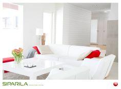 Re-pinnaa kuva ja osallistu Siparilan kuvalottoon 21.5. – 17.6.2012! Lisäinfoa Siparilan Pinterest-sivulta. Kuvassa: Struktuuri sisustuspaneeli, STS 14x145 valkoinen. Accent Colors, Color Accents, Living Spaces, Living Room, Interior Decorating, Interior Design, Sofa, Couch, All White