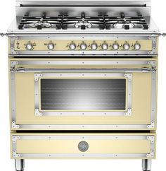 Bertazzoni HER366GASCR: Matt-cream 36 6-Burner, Gas Oven