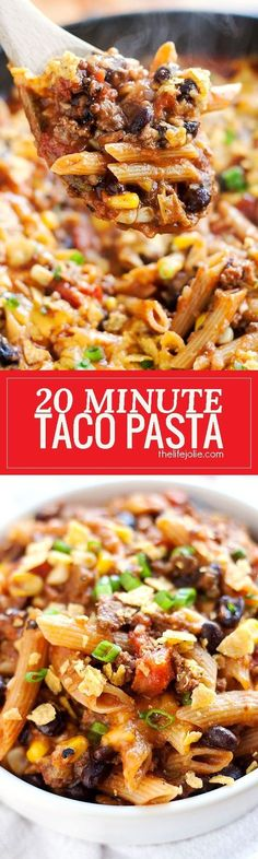 20 Minute Taco Pasta is such an easy one pot recipe. This tasty dinner is made in one skillet with ground beef and Barilla Pronto Penne Pasta. It's creamy, cheesy and full of great flavor that the whole family will love! #BarillaPronto #OnePanPronto #ad @