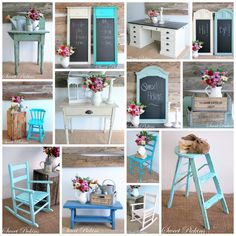 Look at these great Ideas for redoing some furniture....love the different colors!