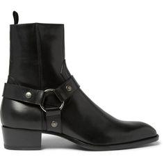 Saint Laurent Leather Harness Boots (27.565 CZK) ❤ liked on Polyvore featuring men's fashion, men's shoes, men's boots, mens black boots, mens black shoes, mens harness boots, mens leather shoes and yves saint laurent mens boots