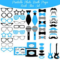$5.00 Buy Now! Blue and Black Rock and Roll Printable Photo Booth Set at www.amandakeyt.com Enjoy Life! Buy the app!