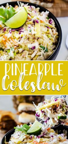 Bring the best dressed slaw to your next BBQ! This fast & easy Fresh Pineapple Coleslaw adds a little tropical flair to the otherwise ordinary side, making it a great topping for everything from sliders to hot dogs! via @crumbykitchen