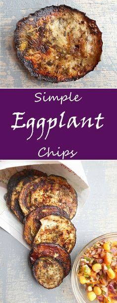 Eggplant chips are a quick game time snack or snack for any occasion. They are healthy and filling. Flavored with Mediterranean spices