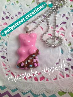 Light pink handmade Gummybear Resin Pendant with icing and sprinkles dipped gummybear by pulpstreet creations by PulpStreetCreations on Etsy
