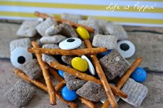"Love this so much! A ""deconstructed"" Minion Snack Mix recipe from Life is Poppin' (though we like to call it ""Exploding Minion"")."