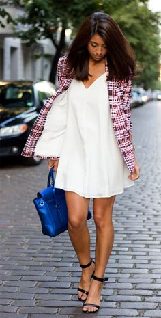 white dress with blazer #outfit